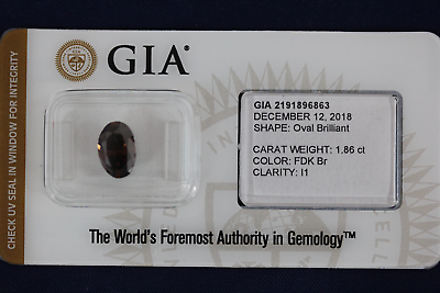 1.86 CT Fancy Dark Brown Oval Brilliant Diamond GIA Certified - I1 Clarity