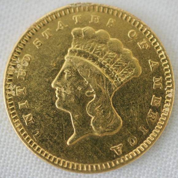 1857 Indian Princess Dollar Gold Coin (G$1) - Jewelry Damage
