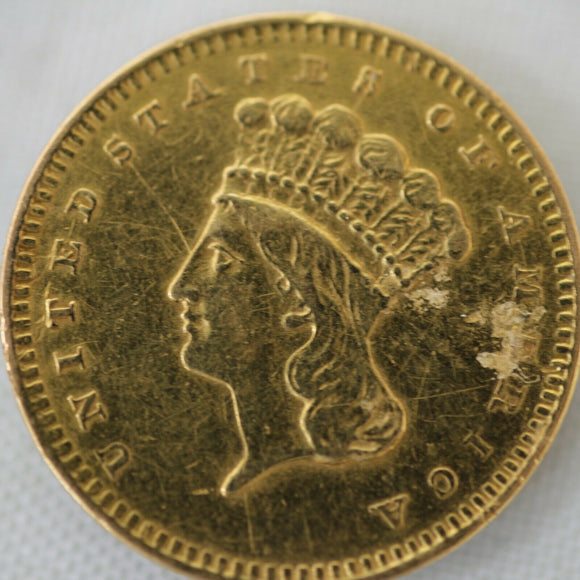 1856 Indian Princess Dollar Gold Coin (G$1) - Jewelry Damage (#2)