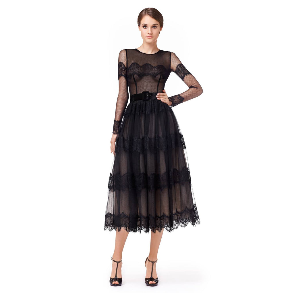 Over the knee tulle dress with embroidery