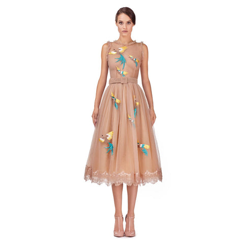 Over the knee tulle dress with embroidery (original price $875.00)