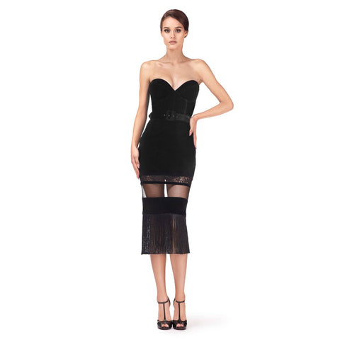 Over the knee velvet dress with corset and fringes (original price $805.00)