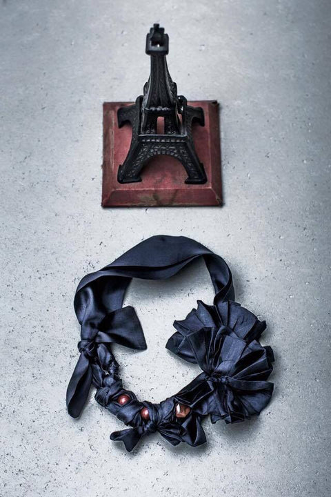 Silk Necklace - Navy
