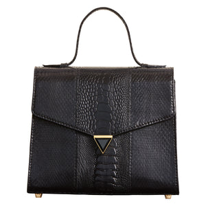 Illara Ava Top Handle Bag Noir Front View