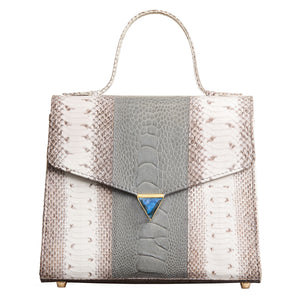 Illara Ava Top Handle Bag Pearl Grey Front View