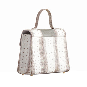 AVA SNAKESKIN & OSTRICH LEG TOP HANDLE BAG