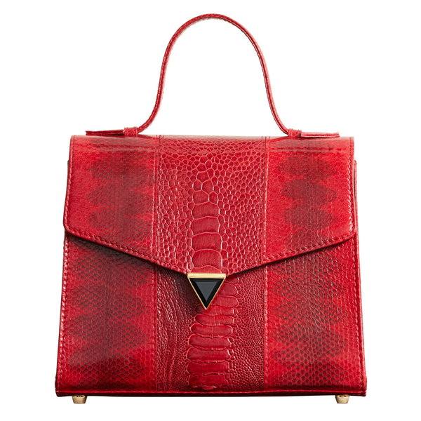 Illara Ava Top Handle Bag Ruby Front View