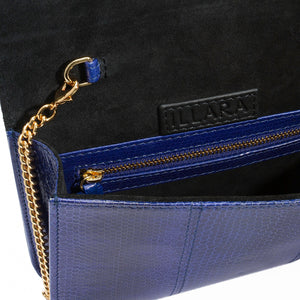 ERIKA SNAKESKIN & OSTRICH LEG CROSSBODY BAG - ROYAL BLUE