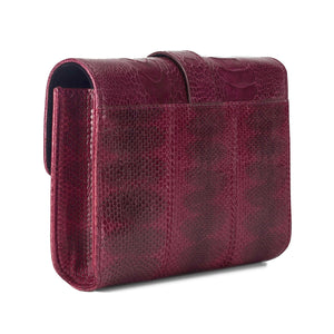 ERIKA SNAKESKIN & OSTRICH LEG CROSSBODY BAG - BORDEAUX