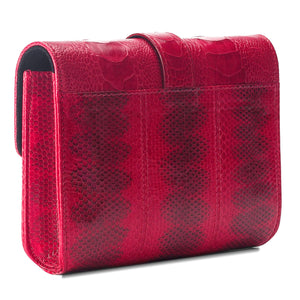 ERIKA SNAKESKIN & OSTRICH LEG CROSSBODY BAG - RUBY
