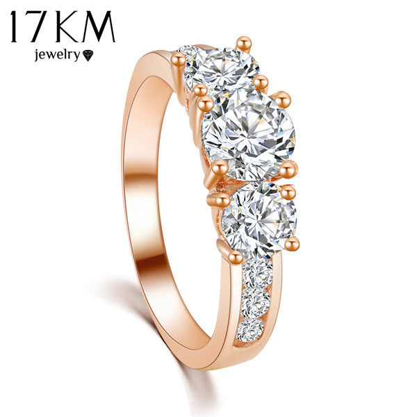 17KM New Hot Fashion Luxury High quality Rose Gold Color Crystal Ring for Women  - handwristband