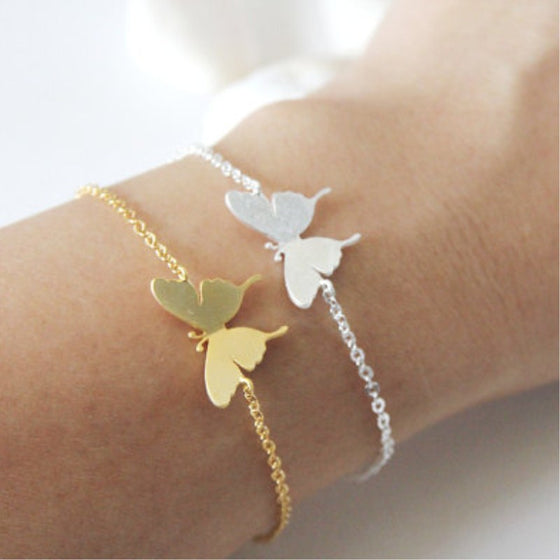 Butterfly  Hand Chain Gold & Silver Bracelet for Women  - handwristband