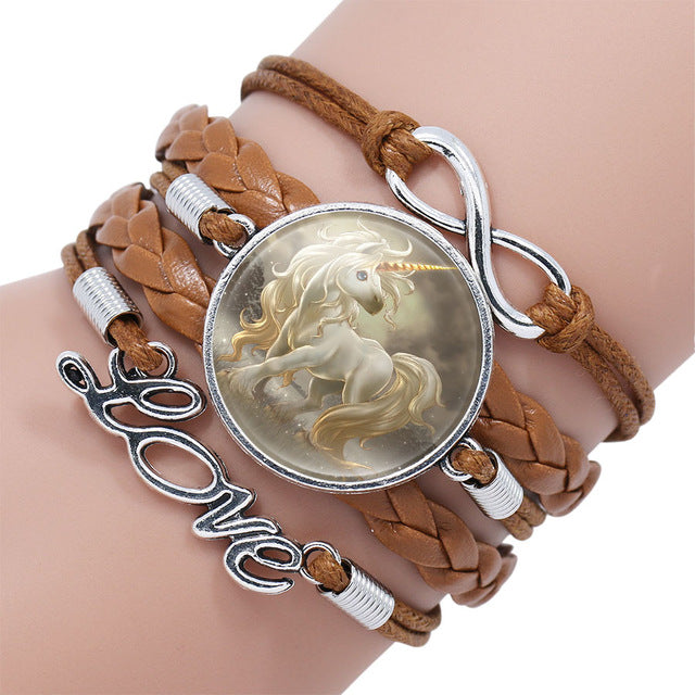 Unicorn Bracelet Handmade Infinity Love Leather  - handwristband