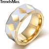 Trendsmax Faceted Band Ring Mens Boys Tungsten Carbide Polished Silver Gold 8mm KTR02  - handwristband