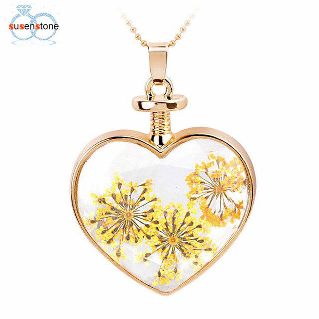 SUSENSTONE Women Dry Flower Heart Glass Wishing Bottle Pendant Necklace  - handwristband