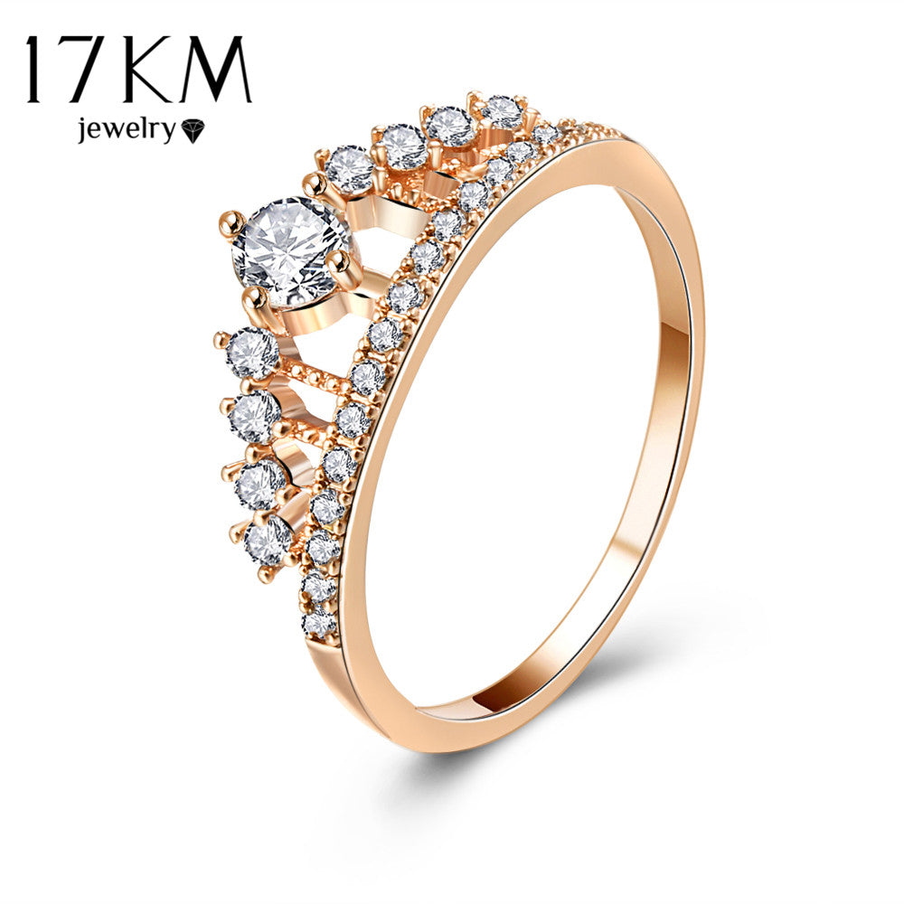 17KM Cubic Zirconia Crown Rings For Women  - handwristband