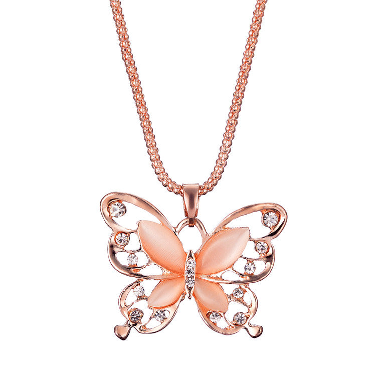 Women Lady Rose Gold Opal Butterfly Pendant Necklace Sweater Chain  - handwristband