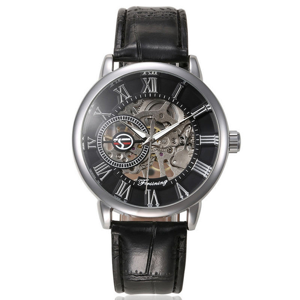 Luxury Mens Steampunk Skeleton Stainless Steel Automatic Mechanical Wrist Watch  - handwristband