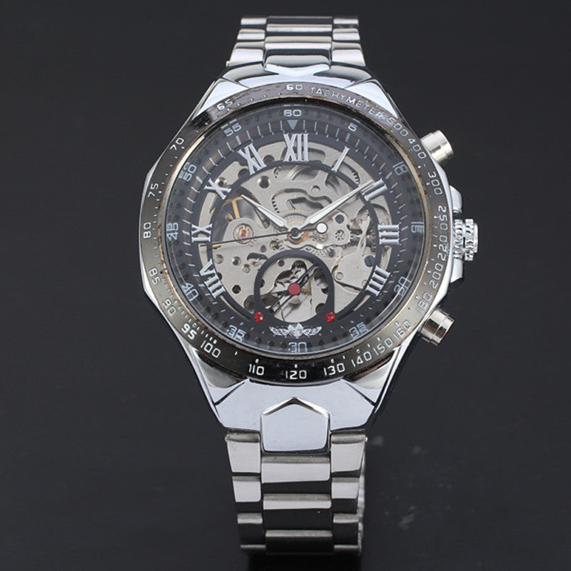 New Skeleton Automatic Watches For Men Stainless Steel Wrist Watch  - handwristband