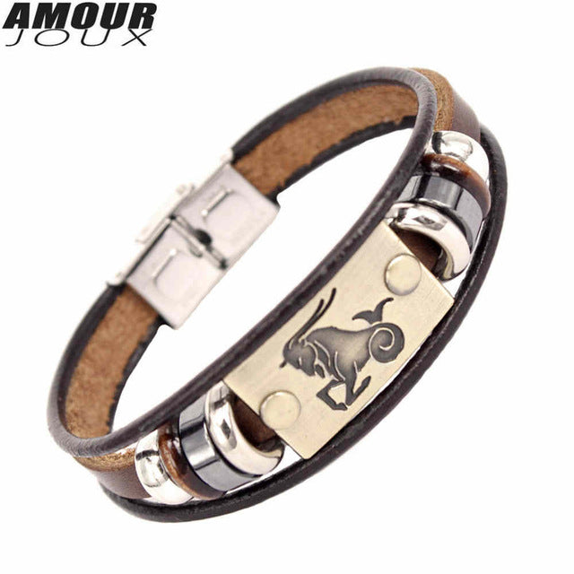 Signs Beaded Charm Bracel Clasp Leather Bracelet for Men Women  - handwristband