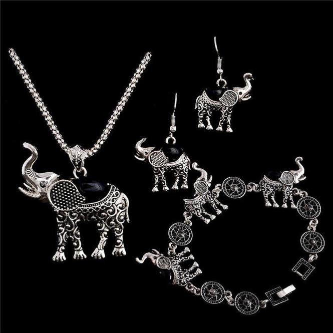 1Set Elephant Women Necklace Pendant Drop Earrings & Bracelet  - handwristband
