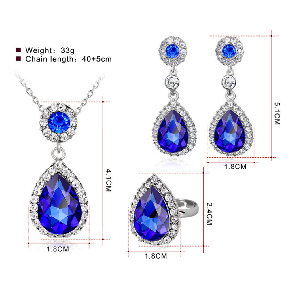 New Women Necklace Earring Ring Set Metal Jewelry Bib Pendant Chain Necklace Set  - handwristband