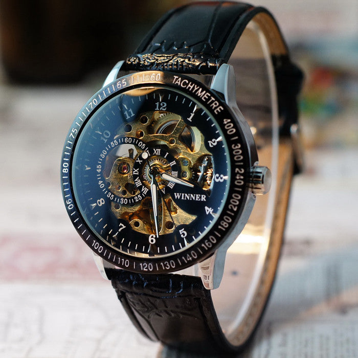 Men Hollow Skeleton Automatic Mechanical Stainless Steel Wrist Watch  - handwristband