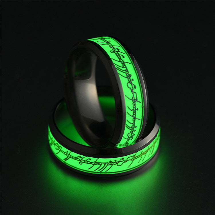 2018 Stainless Steel  Glow In The Dark Ring  - handwristband