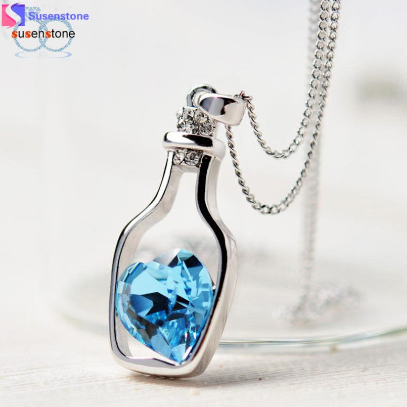 Susenstone 20pcs Love Drift Bottles Pendant Necklace for women Heart Crystal Pendant Necklace Women Necklaces Popular  - handwristband