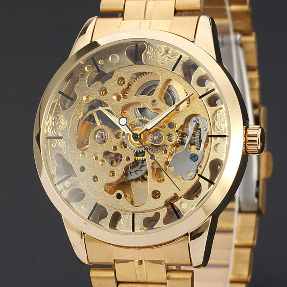 Mens Watches Top Brand Luxury Hollow Skeleton Automatic Watch Men Watch Clock  - handwristband