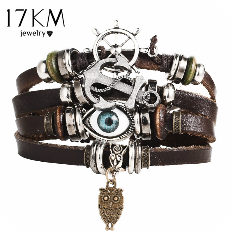 Leather Bracelet For Men  Multiple Layer Vintage bracelets  - handwristband