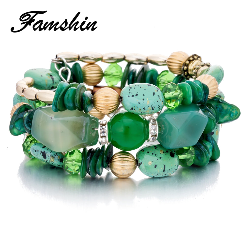 Multilayer Beads Charm Bracelets for Women  - handwristband