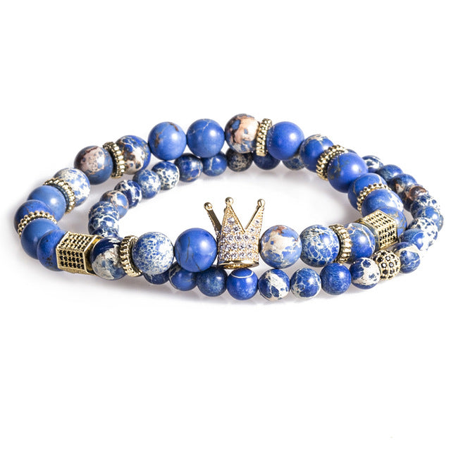 2018 ATTYIRENA Bead Bracelet Crown Bangle Natural Blue for men & women  - handwristband