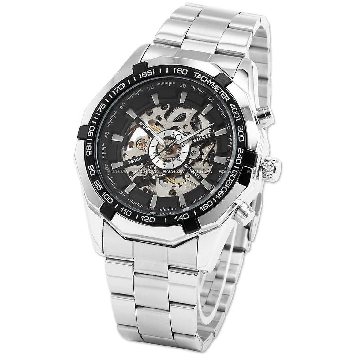 WINNER 099 Vintage Round Skeleton Dial Stainless Steel Band Men's Automatic Mechanical Wrist Watch  - handwristband
