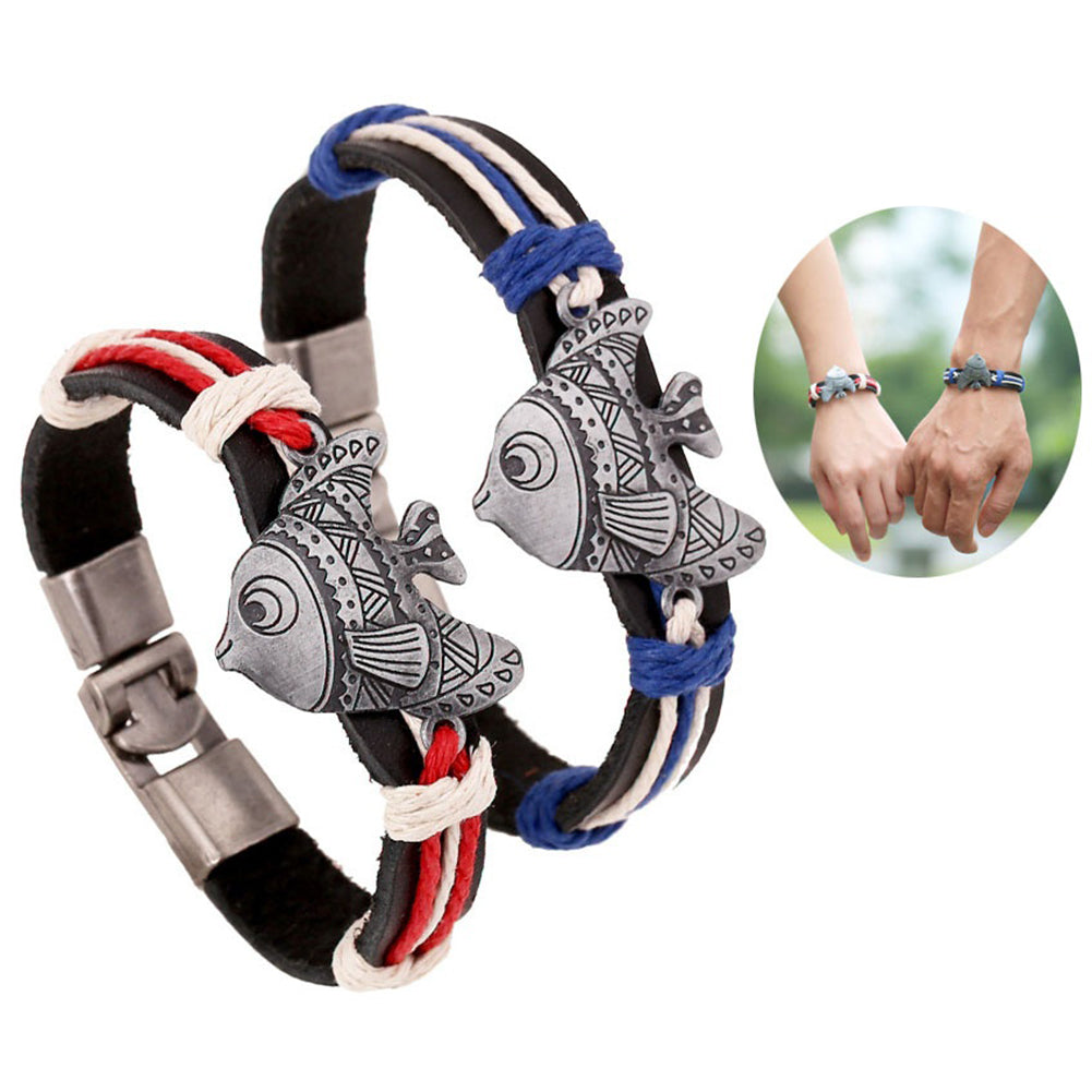 t Faux Leather Woven Couple Lover Bracelet  - handwristband