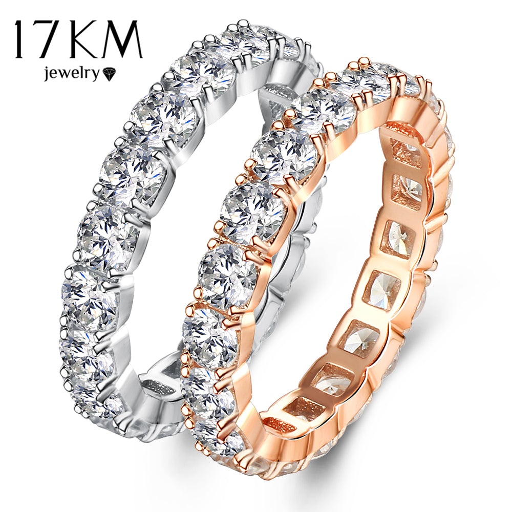 17KM Fashion Cubic Zirconia Hollow Out Mid Rings For Women  - handwristband