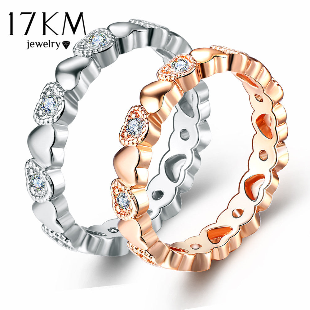 17KM 2 Color Endless Love Heart Rings for Women  - handwristband