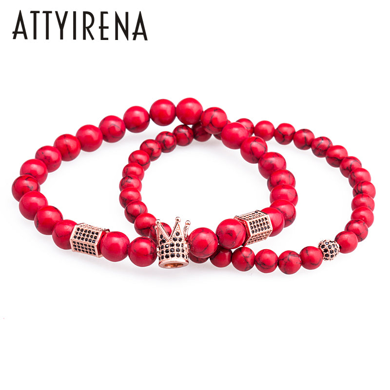 2018 ATTYIRENA Red Natural Stone Bracelet 2pcs for Men & Women  - handwristband