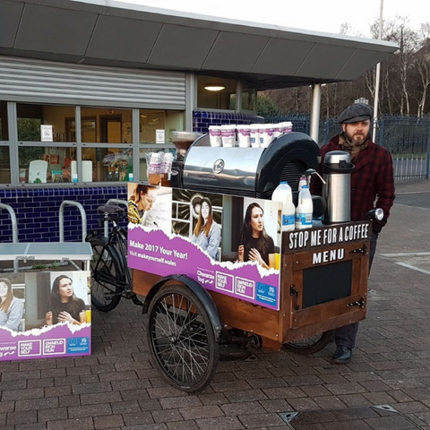 Handlebar Barista coffee trikes for hire for promo and marketing work