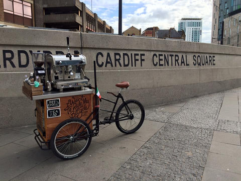 Handlebar Barista in Cardiff Wales routes - Central Railway Station