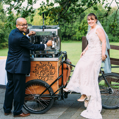 Handlebar barista coffee trike for wedding hires