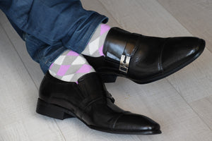 Men's dress socks, multicolored, with purple and grey argyle pattern