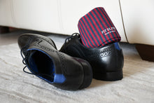 Men's Thin Striped Dress Socks - Blue and Red (Milan)