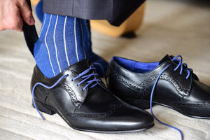 Blue business socks for men matching black derby dress shoes