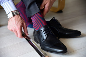Wearing formal dress socks for men with a black suit