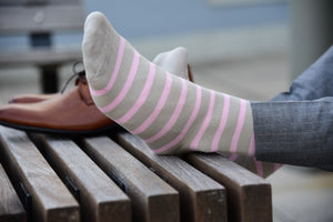 Fun dress socks for men, pink striped, matching grey dress pants