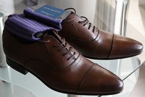 Luxury business socks for men with classic purple stripes and brown oxford dress shoes