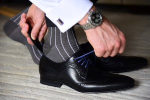 Luxury dress socks for men matching purple cufflinks, made from premium Egyptian cotton