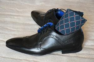 Luxury dress socks for men, navy blue with red polka dots