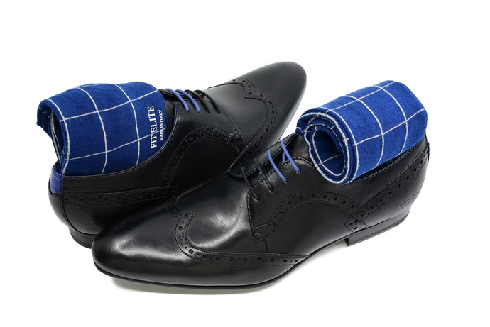 Men's blue checkered dress socks with black shoes